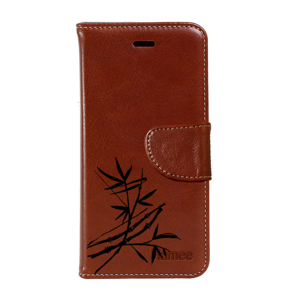 Hamee - High On Weed - Premium PU Brown Leather Flip Diary Type Cover for iPhone 7