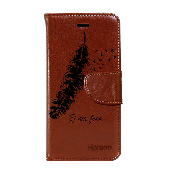 Hamee - I am Free - Premium PU Brown Leather Flip Diary Type Cover for iPhone 7