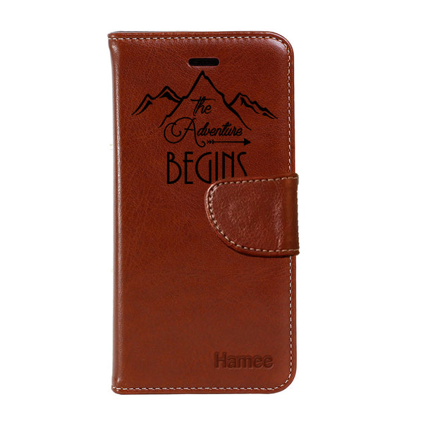Hamee - Adventure Begins - Premium PU Brown Leather Flip Diary Type Cover for iPhone 7