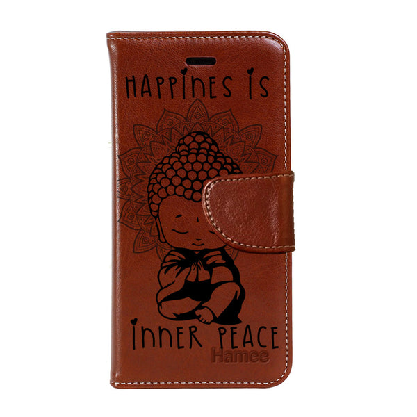 Hamee - Buddha Inner Peace - Premium PU Brown Leather Flip Diary Type Cover for iPhone 7