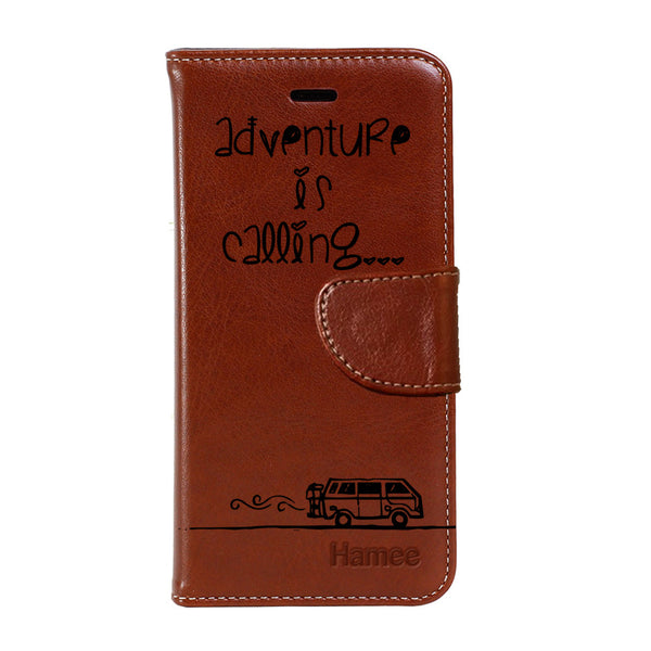 Hamee - Adventure is Calling - Premium PU Brown Leather Flip Diary Type Cover for iPhone 7
