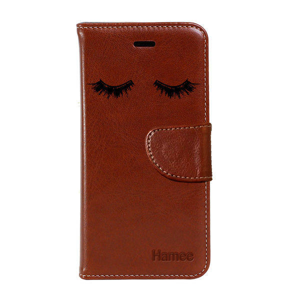 Hamee - Eye Lashes - Premium PU Brown Leather Flip Diary Type Cover for iPhone 7