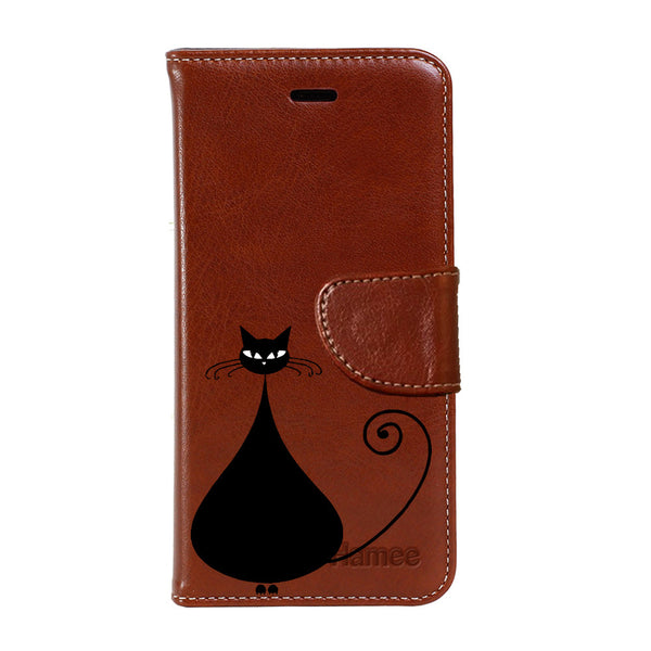 Hamee - Fat Cat - Premium PU Brown Leather Flip Diary Type Cover for iPhone 7
