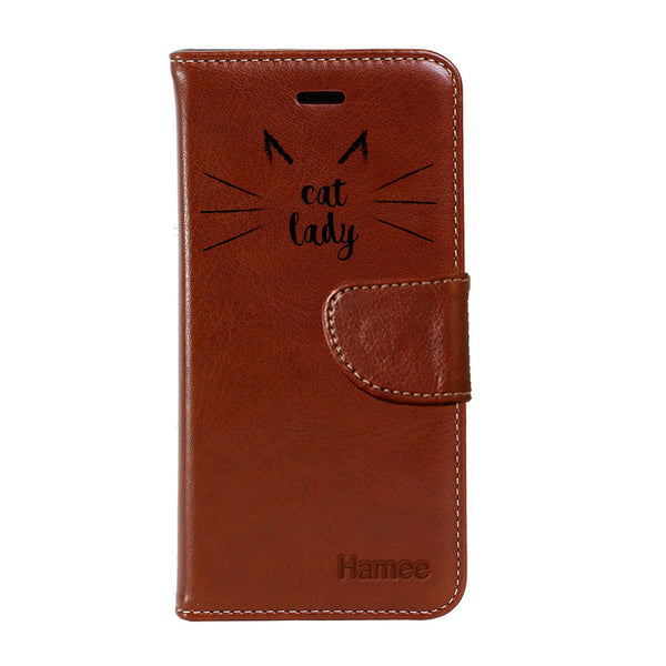 Hamee - Cat Lady - Premium PU Leather Flip Diary Card Pocket Case Cover Stand for Moto Z2 Play