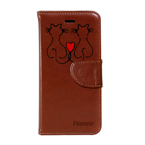 Hamee - Cat Love - Premium PU Brown Leather Flip Diary Type Cover for iPhone 7
