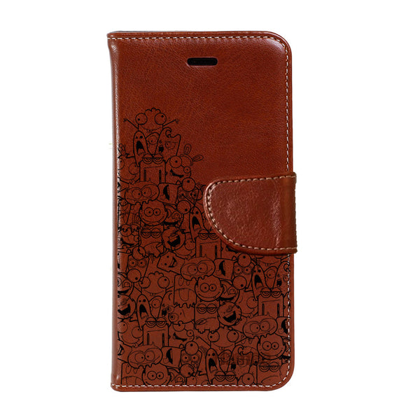 Hamee - Cartoons - Premium PU Brown Leather Flip Diary Type Cover for iPhone 7