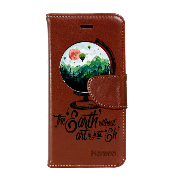 Hamee - Earth - Premium PU Brown Leather Flip Diary Type Cover for iPhone 7