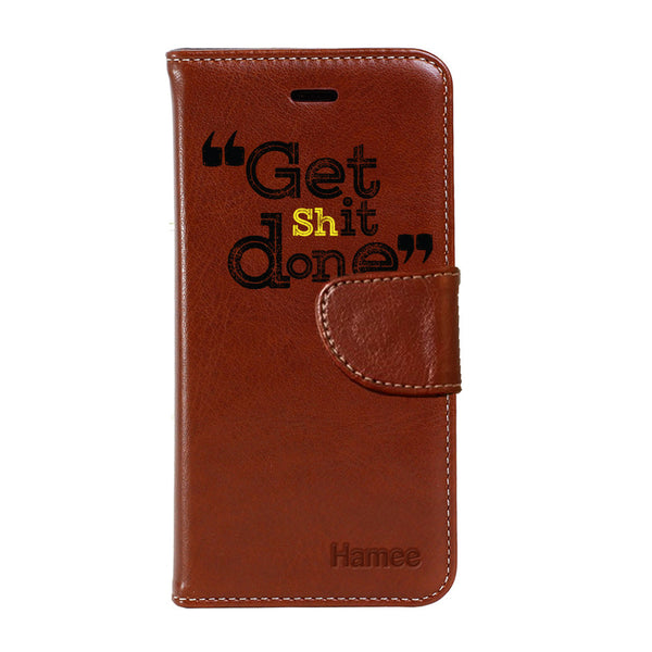 Hamee - Get Shit Done - Premium PU Brown Leather Flip Diary Type Cover for iPhone 7