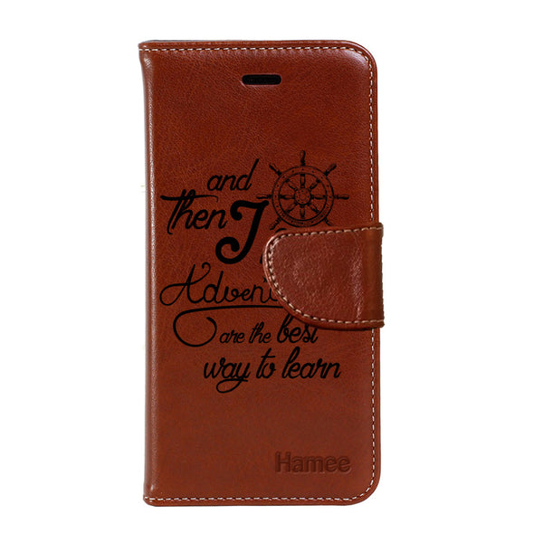 Hamee - Adventururous - Premium PU Brown Leather Flip Diary Type Cover for iPhone 7