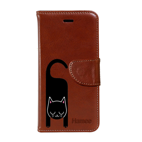 Hamee - Cat Hook - Premium PU Leather Flip Diary Card Pocket Case Cover Stand for Moto Z2 Play