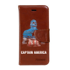 Hamee - Captain America Blurred- Premium PU Brown Leather Flip Diary Type Cover for iPhone 7