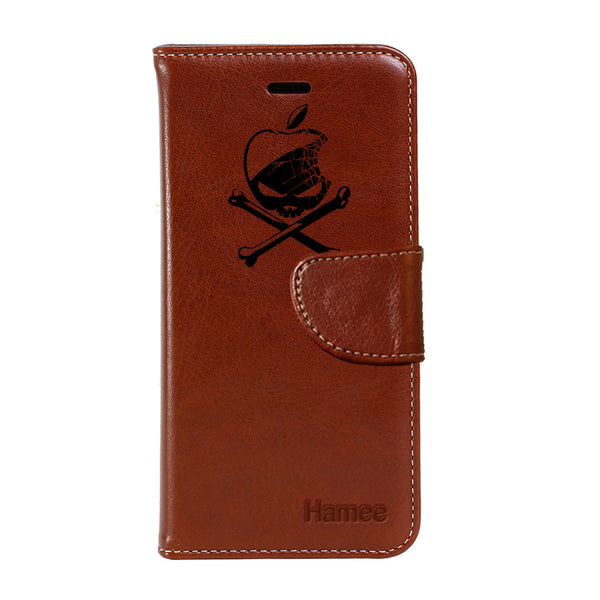 Hamee - Danger Apple - Premium PU Leather Flip Diary Card Pocket Case Cover Stand for Moto Z2 Play