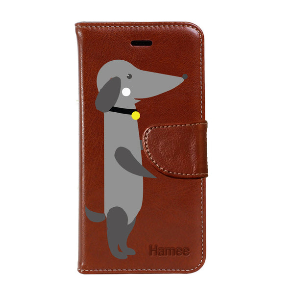 Hamee - Hot Dog - Premium PU Brown Leather Flip Diary Type Cover for iPhone 7