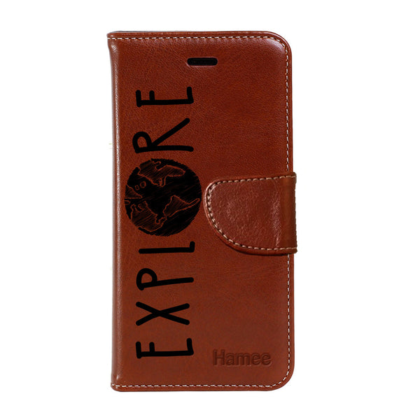Hamee - Explore - Premium PU Brown Leather Flip Diary Type Cover for iPhone 7