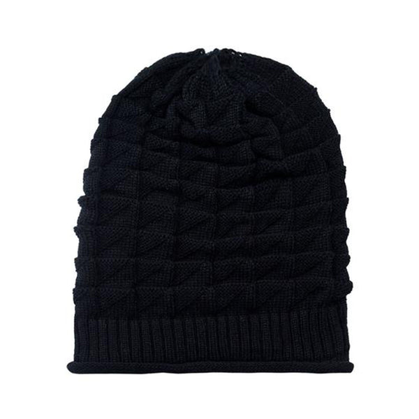 Hamee Black Cross Knitted Slouchy Beanie-Hamee India
