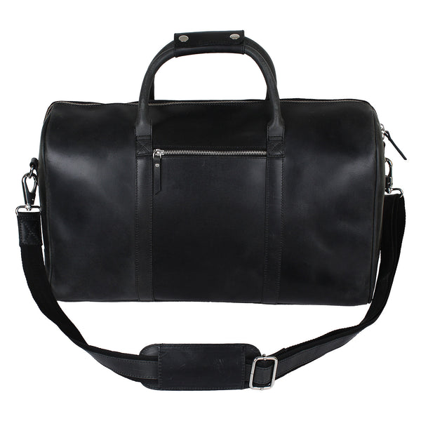 Genuine Imported Premium Black Leather Duffel Bag for Men (RT) - Hamee India