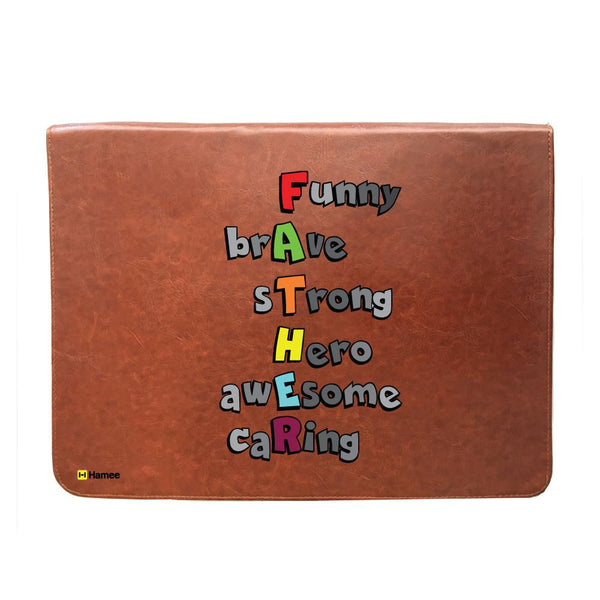 FATHER Meaning - Tan Brown Leather Document Holder-Hamee India