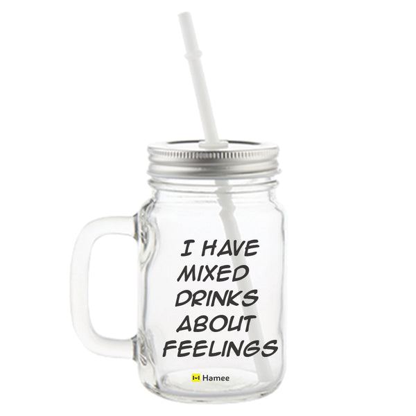 Mixed Feelings Printed Mason Jar with Straw-Hamee India