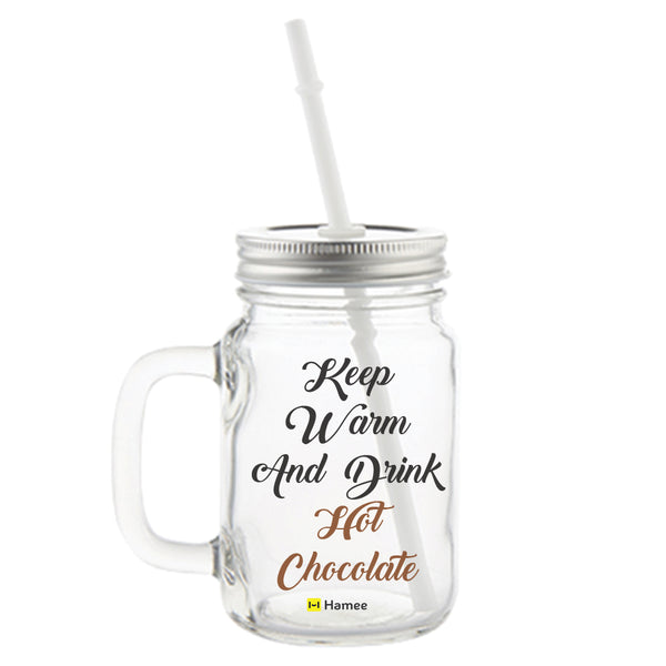 Hot Chocolate Printed Mason Jar with Straw-Hamee India