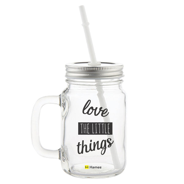 Love Little Things Printed Mason Jar with Straw-Hamee India