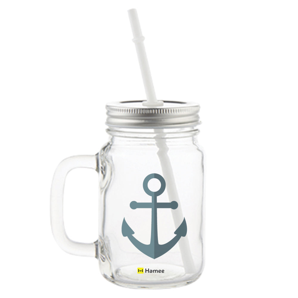Anchor Printed Mason Jar with Straw-Hamee India