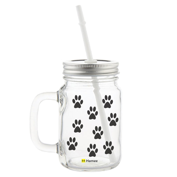 Paws Printed Mason Jar with Straw-Hamee India