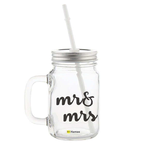 Mr Printed Mason Jar with Straw-Hamee India