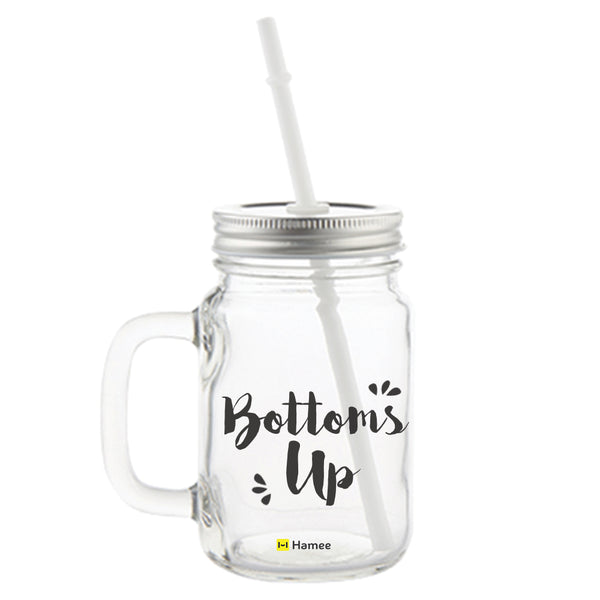 Bottoms Up Printed Mason Jar with Straw-Hamee India