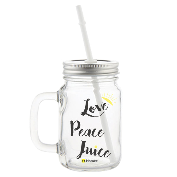 Love Peace Juice Printed Mason Jar with Straw-Hamee India