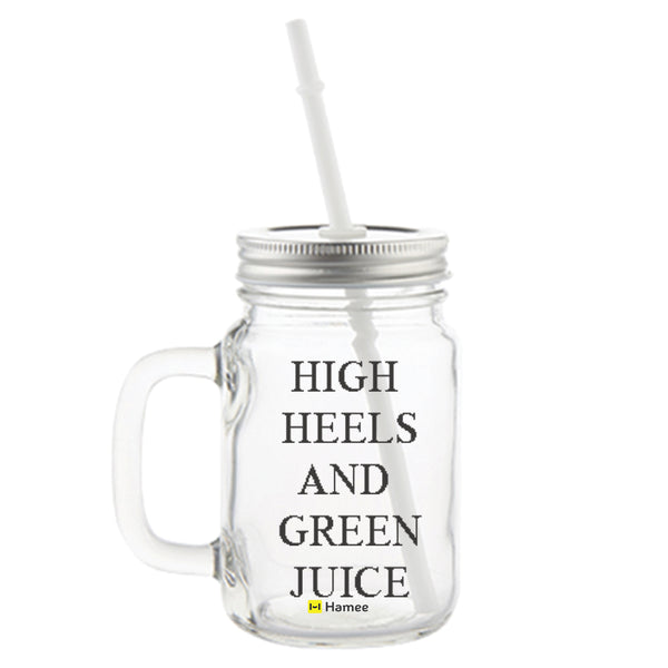 High Heels and Green Juice Printed Mason Jar with Straw-Hamee India