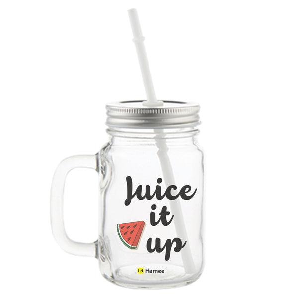 Juice it Up Printed Mason Jar with Straw-Hamee India