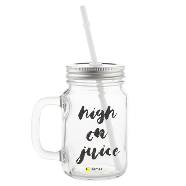 High on Juice Printed Mason Jar with Straw-Hamee India
