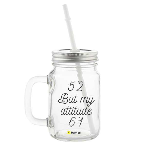 Attitude Printed Mason Jar with Straw-Hamee India