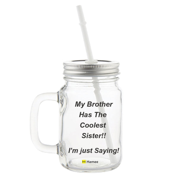 Coolest Sister Printed Mason Jar with Straw-Hamee India