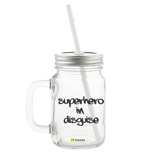 Superhero Printed Mason Jar with Straw-Hamee India
