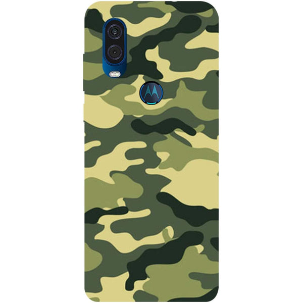 Green Camouflage Motorola One Vision Back Cover