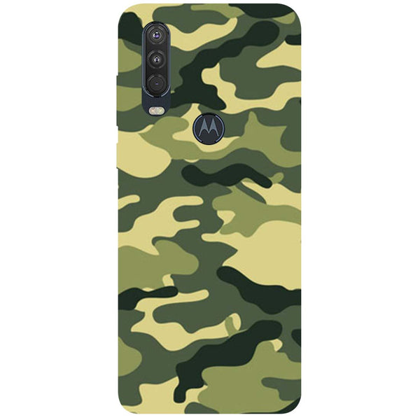 Green Camouflage Motorola One Action Back Cover