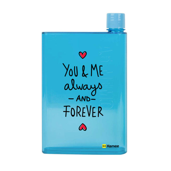 Hamee - You and Me Forever Together - Notebook Style Portable Transparent Blue Shade Bottle (420 ml)