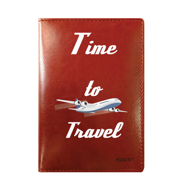 Time to Travel Brown PU Leather Passport Wallet / Holder-Hamee India