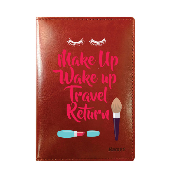 Wake Up Brown PU Leather Passport Wallet / Holder-Hamee India
