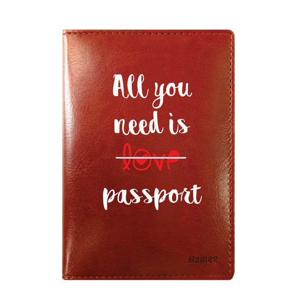 All You Need Brown PU Leather Passport Wallet / Holder-Hamee India
