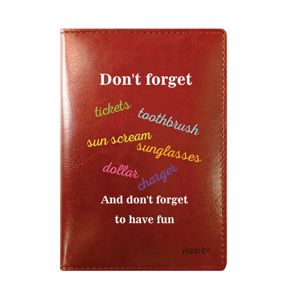 Check List Brown PU Leather Passport Wallet / Holder-Hamee India