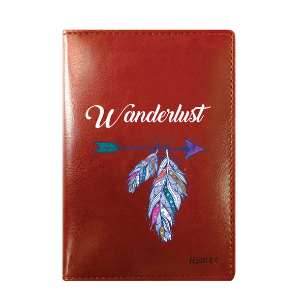 Wanderlust Brown PU Leather Passport Wallet / Holder-Hamee India