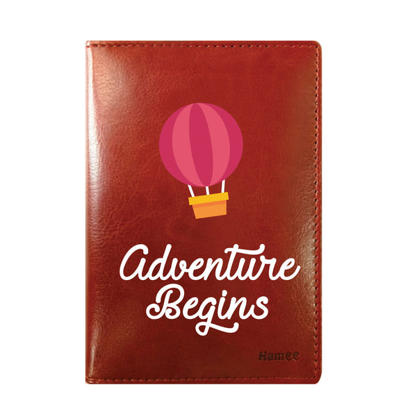 Adventure Begins Brown PU Leather Passport Wallet / Holder-Hamee India