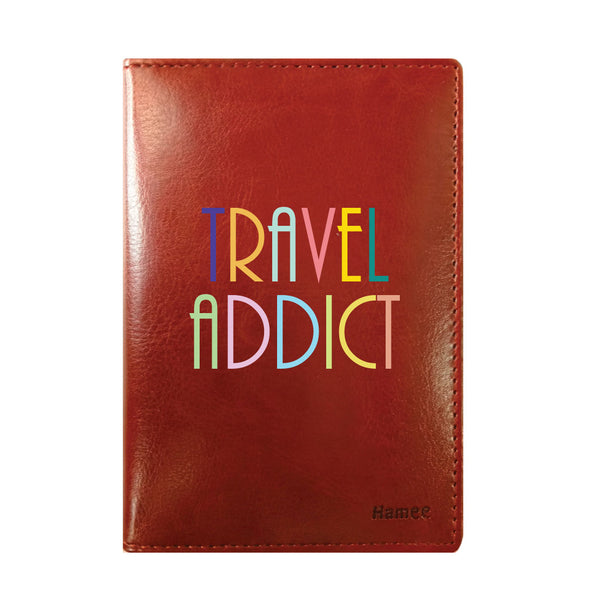 Travel Addict Brown PU Leather Passport Wallet / Holder-Hamee India