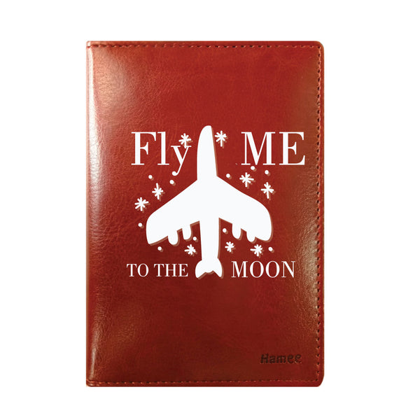 To the Moon Brown PU Leather Passport Wallet / Holder-Hamee India