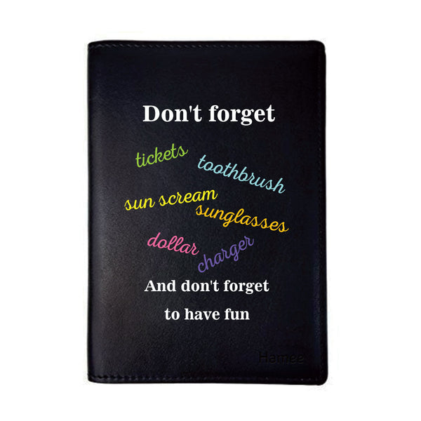 Checklist Black PU Leather Passport Wallet / Holder-Hamee India