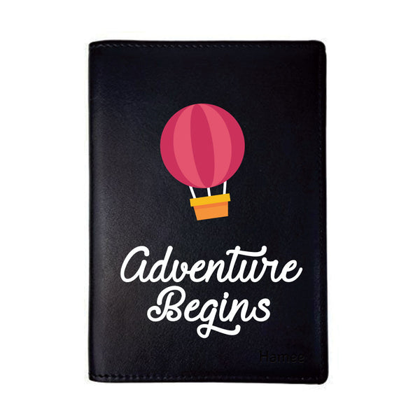 Adventure Begin Black PU Leather Passport Wallet / Holder-Hamee India