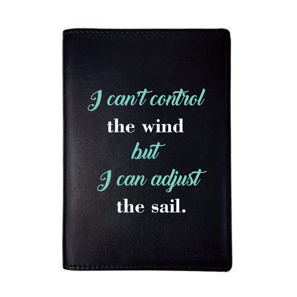 Control the Wind Black PU Leather Passport Wallet / Holder-Hamee India