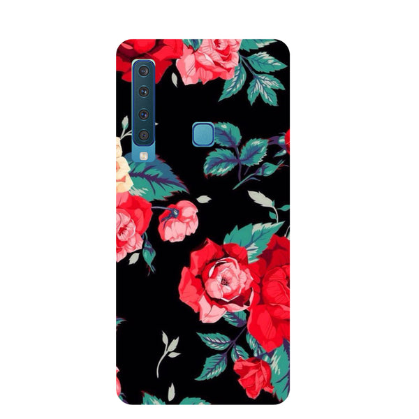 Black Flowers Samsung Galaxy A9 Back Cover-Hamee India